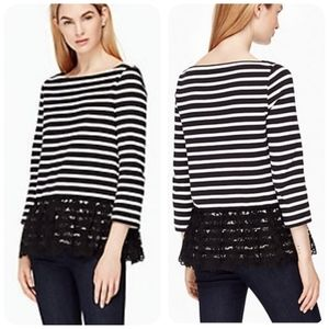 Kate Spade Broome Street Stripe Top w/ Lace Medium